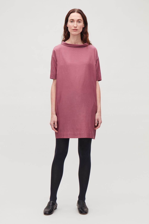 코스 COS FOLDED-COLLAR DRAPED DRESS,Red