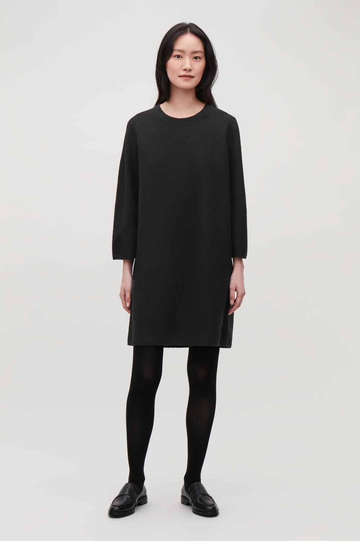 코스 COS BOILED WOOL JUMPER DRESS,Black