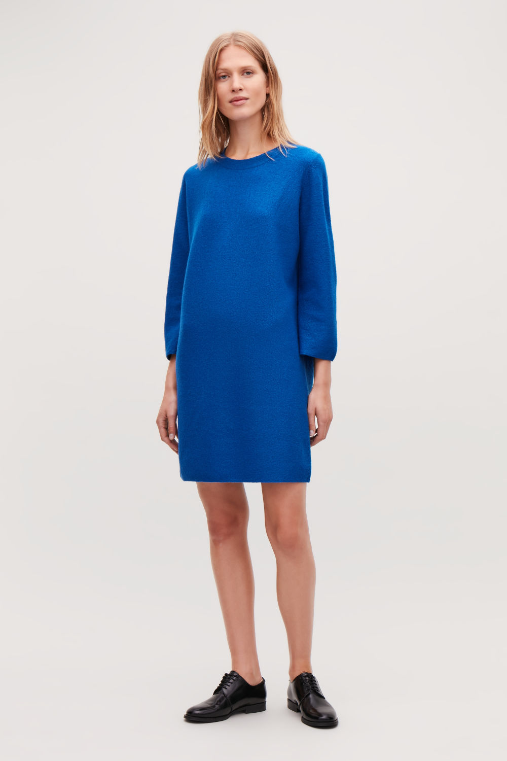 코스 COS BOILED WOOL JUMPER DRESS,Royal blue