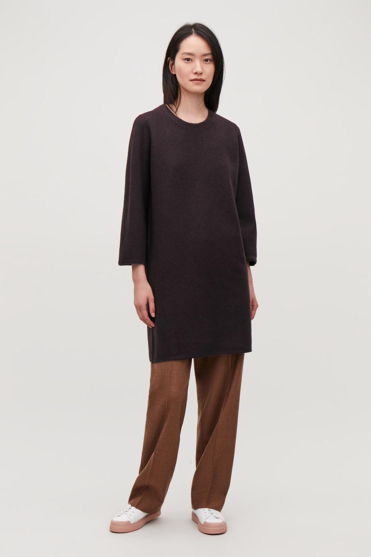 코스 COS BOILED WOOL JUMPER DRESS,Dark burgundy
