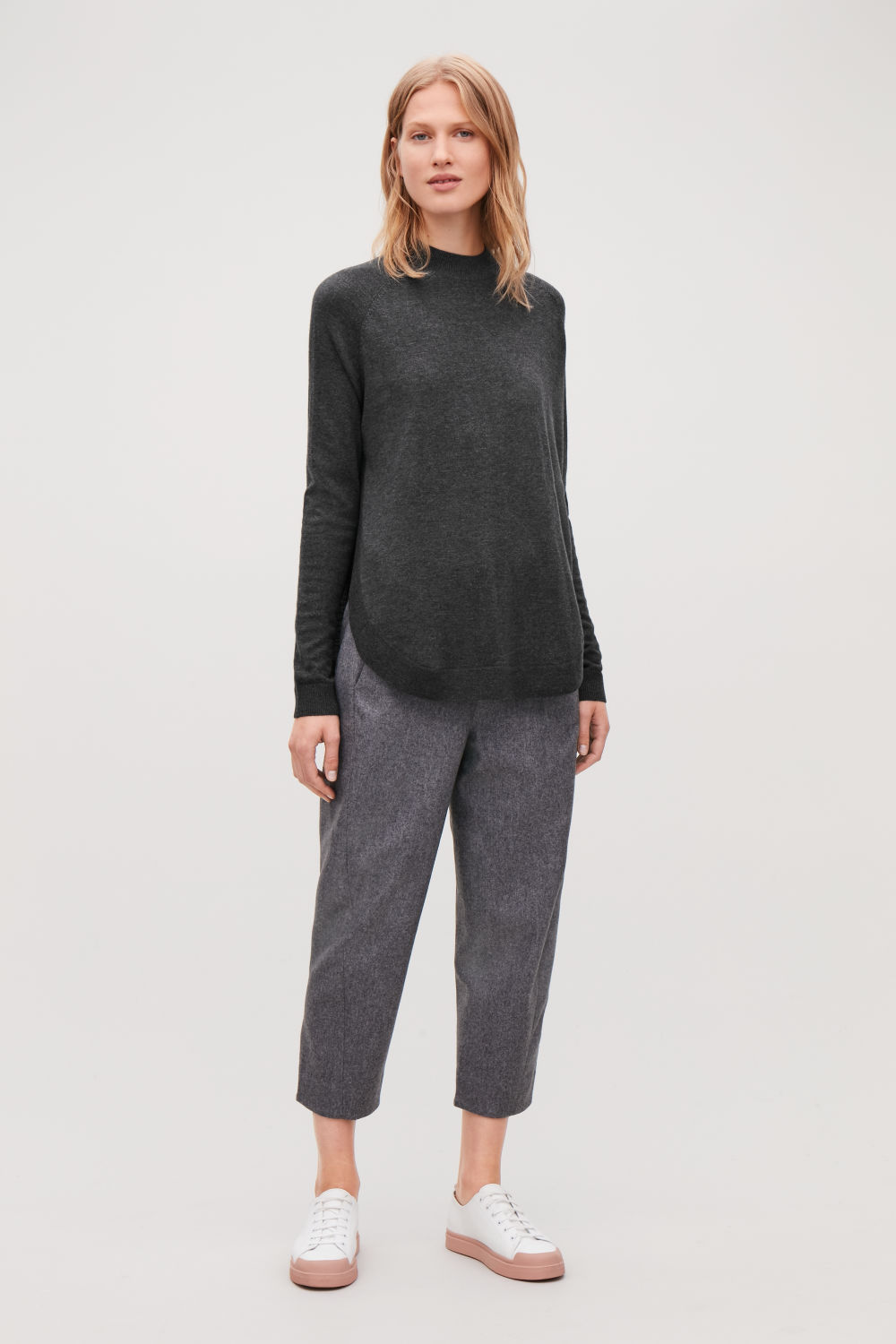 코스 COS ROUND-HEM WOOL JUMPER,Grey