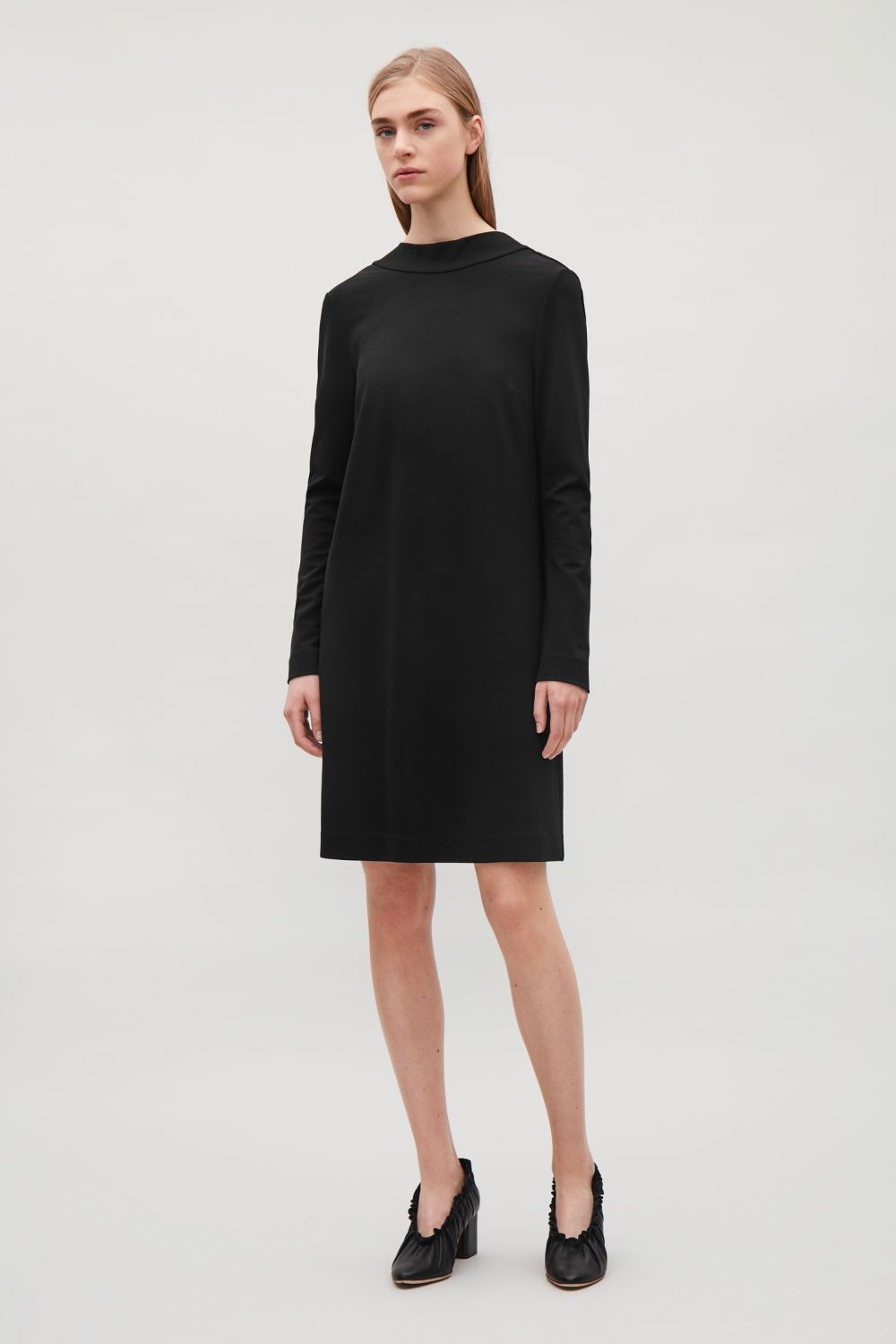 COS DRESS WITH DRAPED BACK,Black