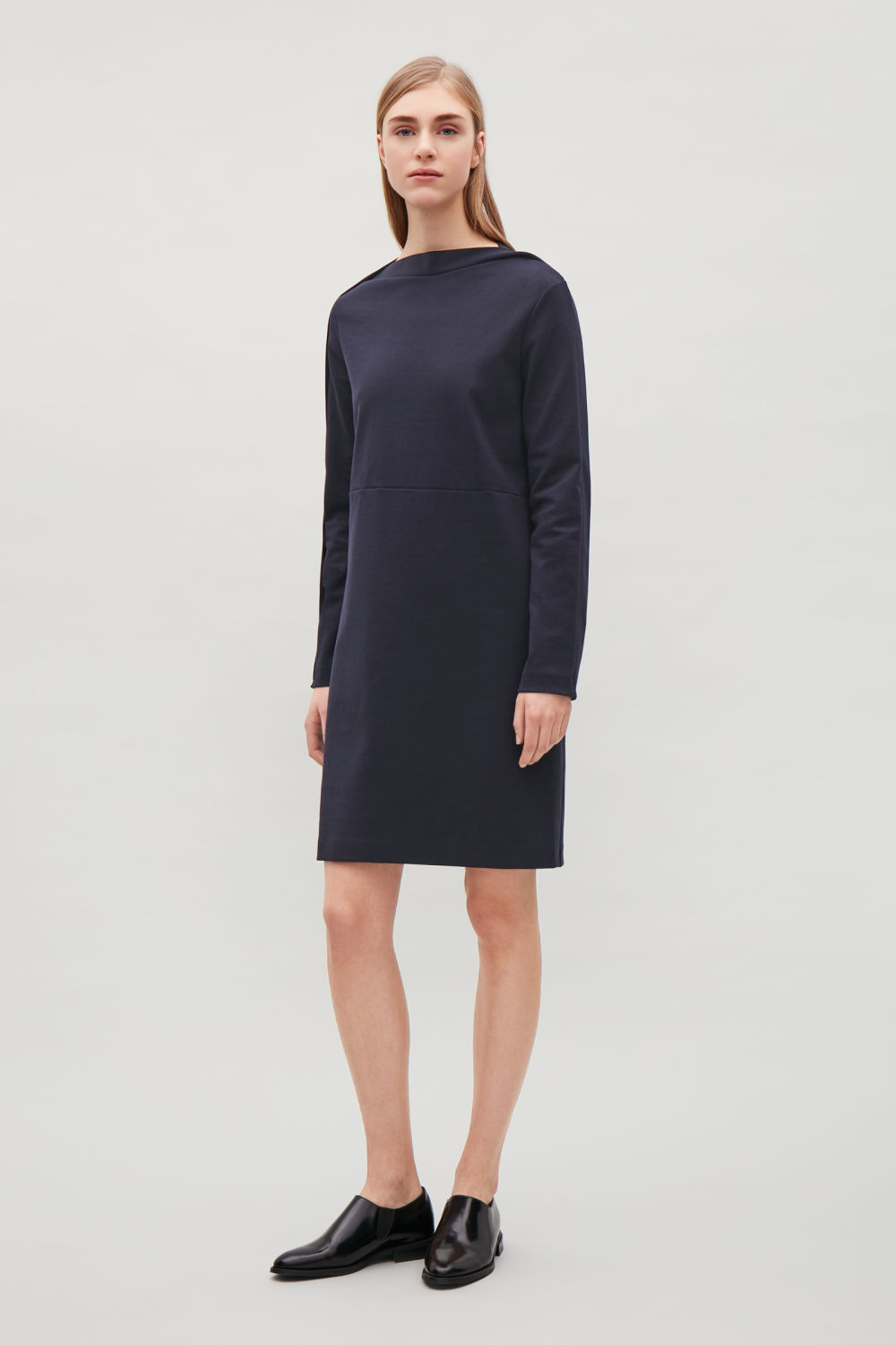 COS WIDE-NECK DRESS WITH OVERLAP TRIM,Navy