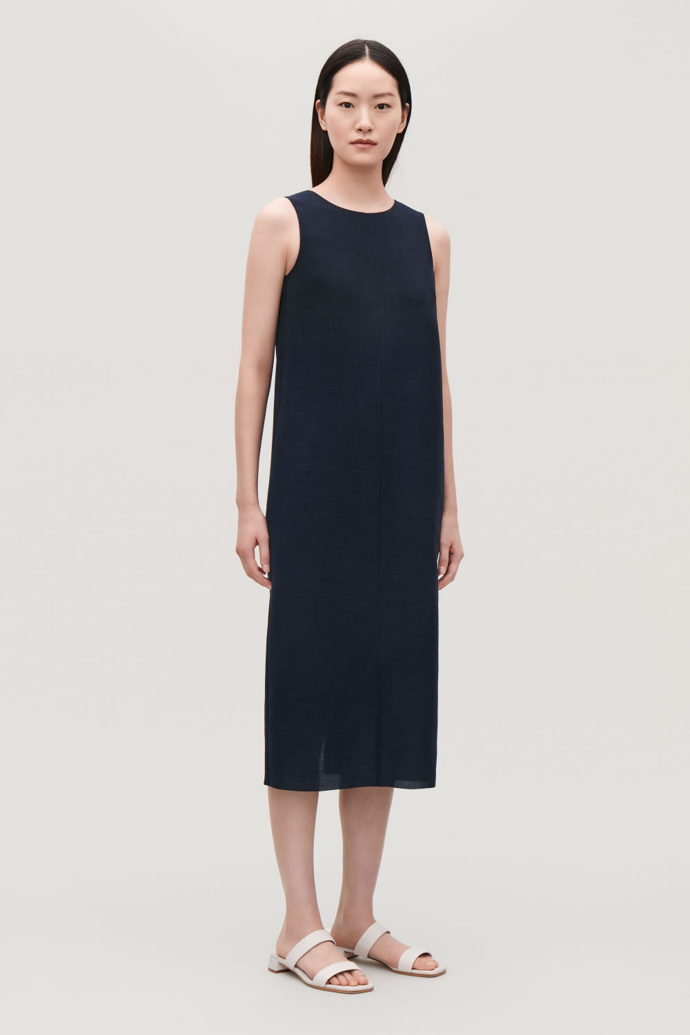 COS V-BACK SLEEVELESS DRESS,Navy