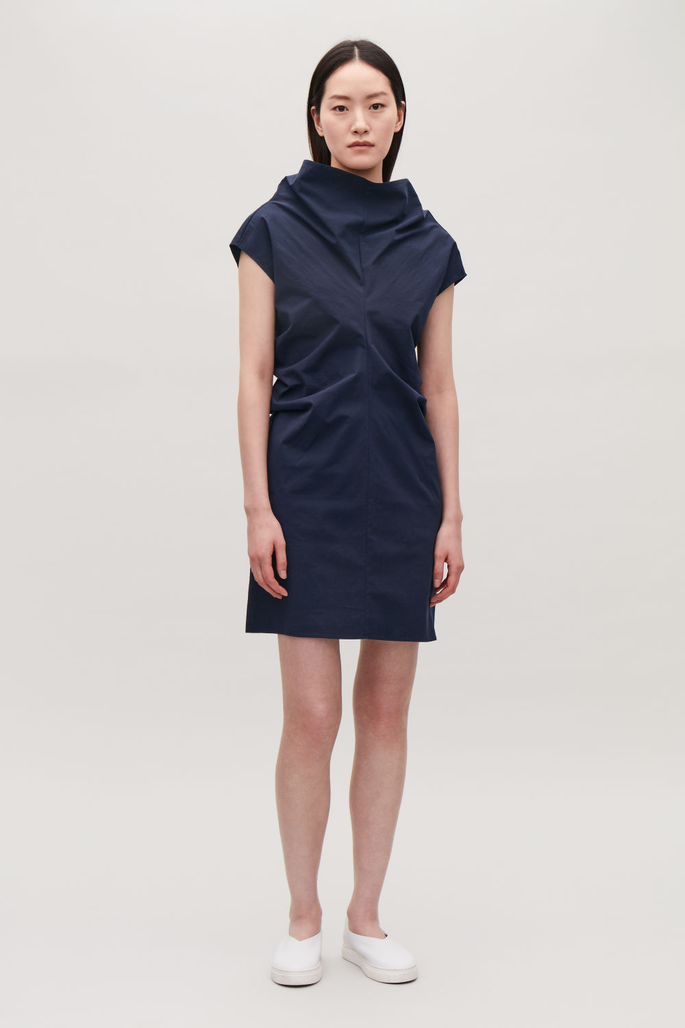 COS DRAPED-NECK SHORT DRESS,Navy
