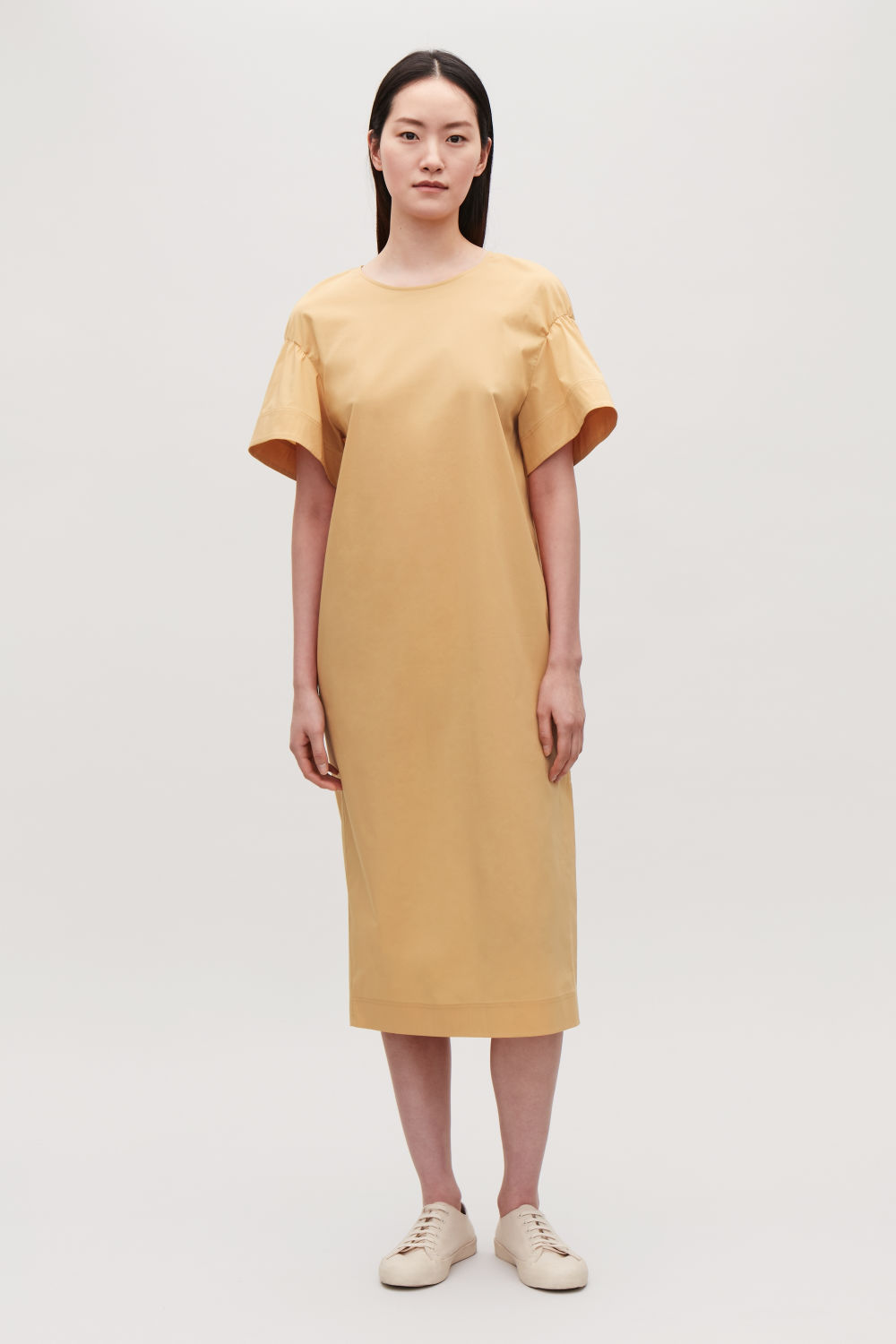 COS FLARE-SLEEVED POPLIN DRESS,Ochre yellow