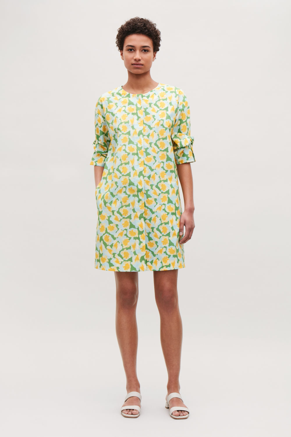 COS KNOT-DETAILED PRINTED DRESS,Green