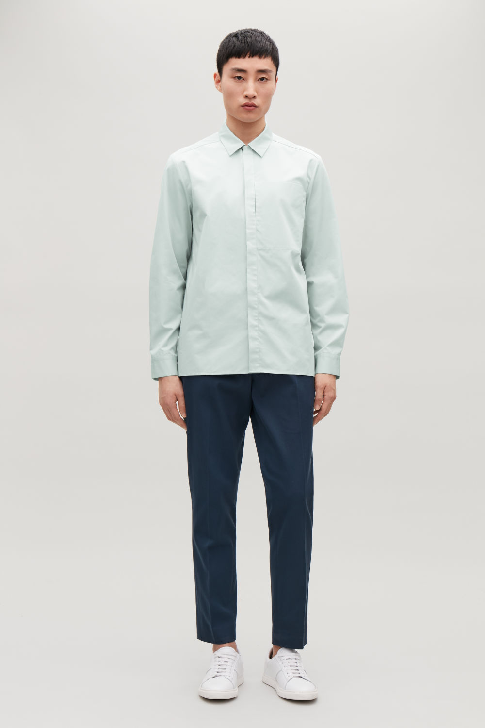 코스 COS COTTON OVERSHIRT WITH POCKET,Mint