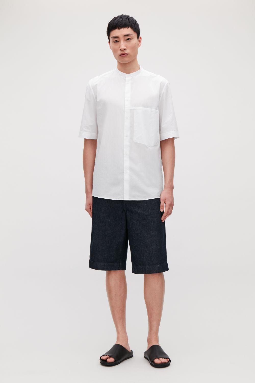 코스 COS Short-sleeve grandad-collar shirt,White