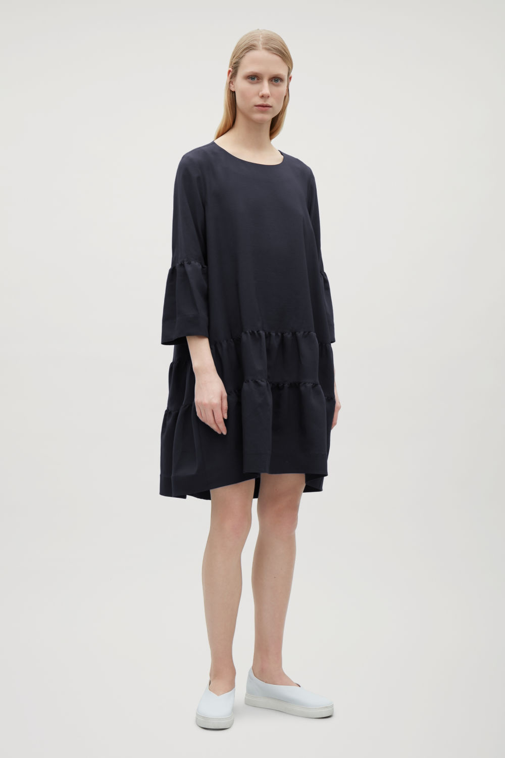 COS GATHERED A-LINE DRESS,Navy
