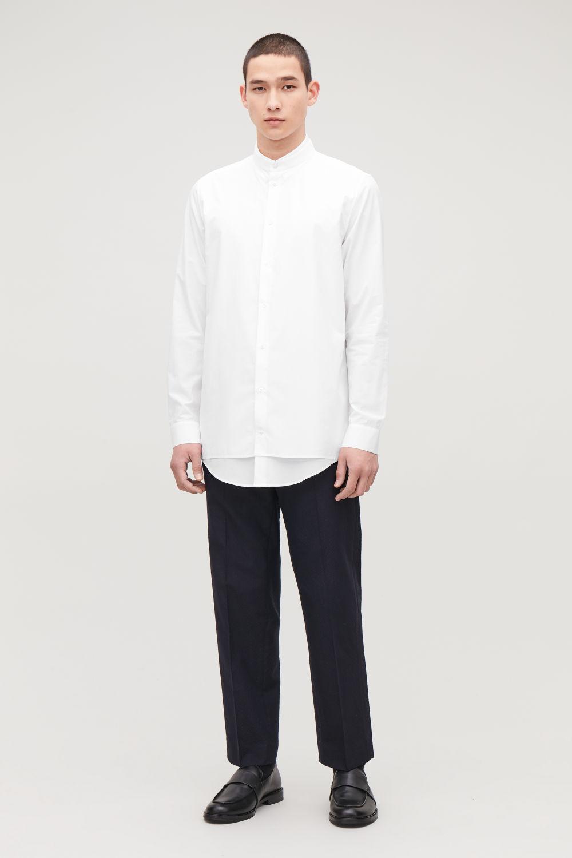 코스 맨 셔츠 COS DOUBLE LAYER COTTON SHIRT,White