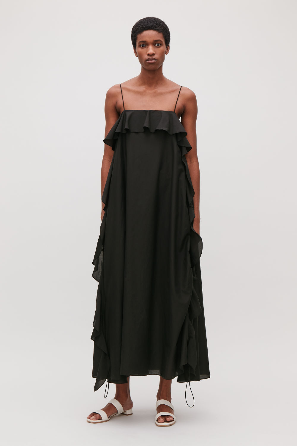 COS FRILLED COTTON-SILK DRESS,Black