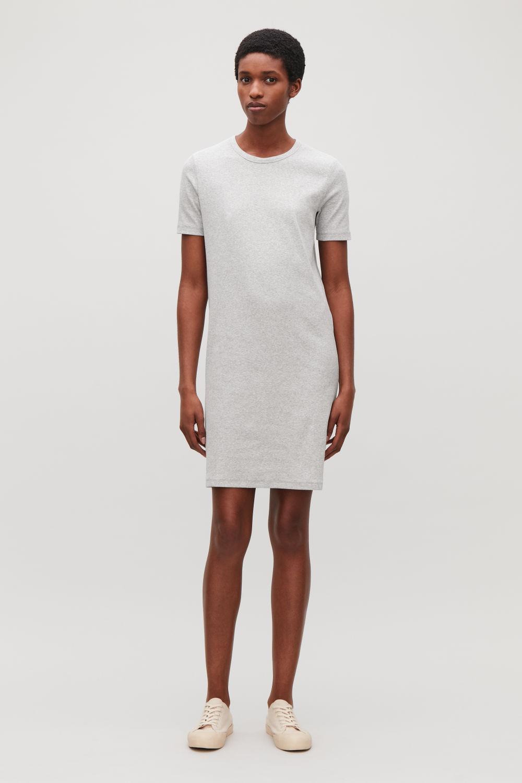 코스 COS RIBBED SHORT DRESS,Light grey
