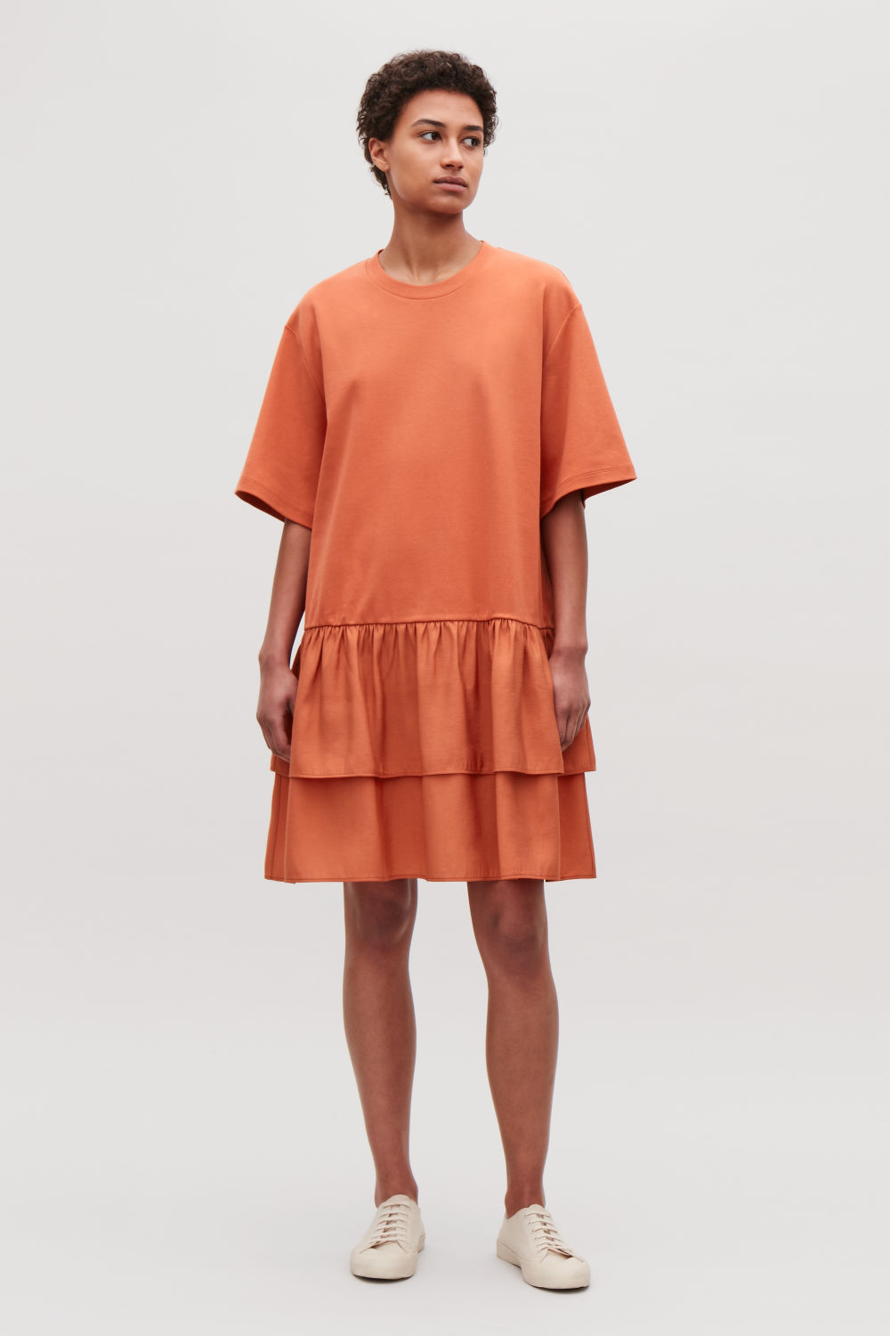 COS FRILL-DETAILED COTTON DRESS,Apricot