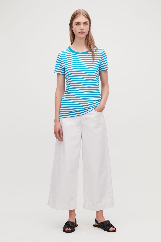 코스 COS COTTON T-SHIRT,Turquoise \/ white