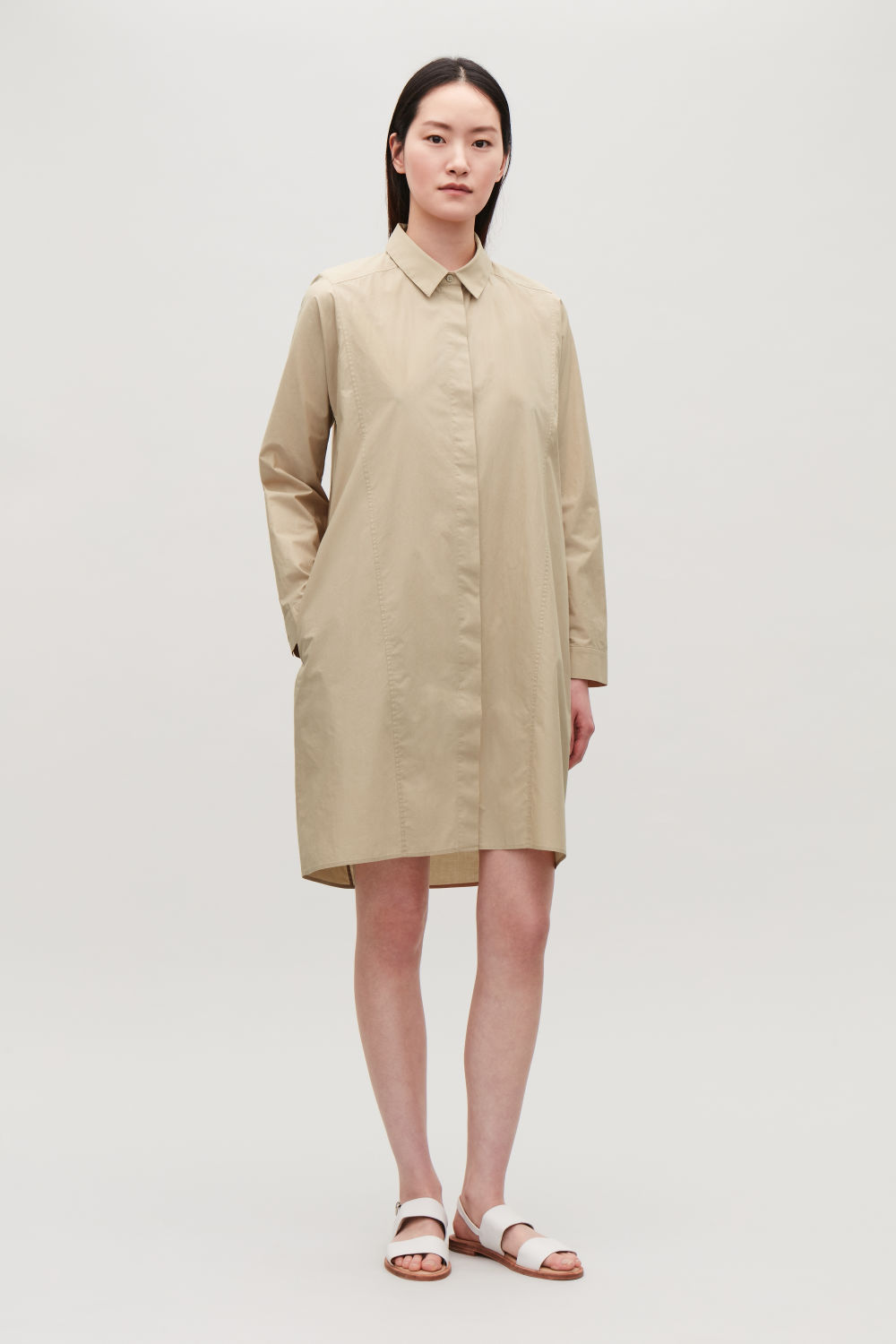 코스 COS SEAM-DETAILED SHIRT DRESS,Sand