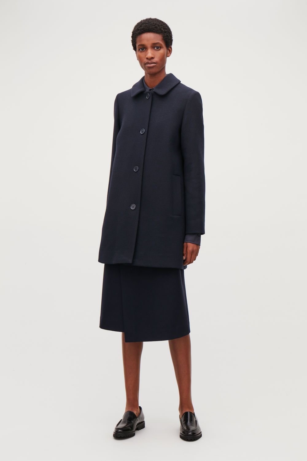 코스 COS STRAIGHT WOOL COAT,Navy