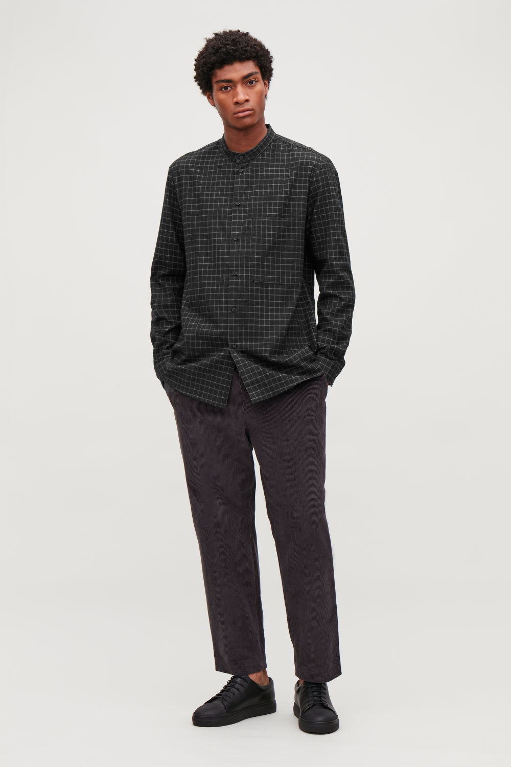 코스 COS CHECKED GRANDAD-COLLAR SHIRT,Black \/ grey