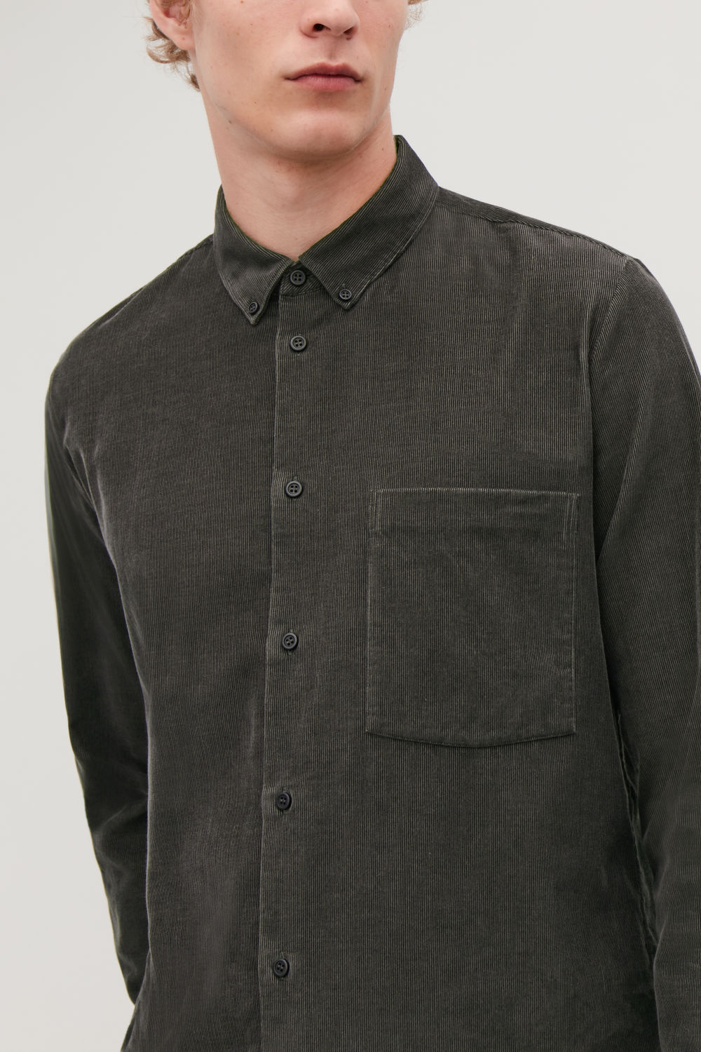코스 COS CORDUROY SHIRT,Charcoal