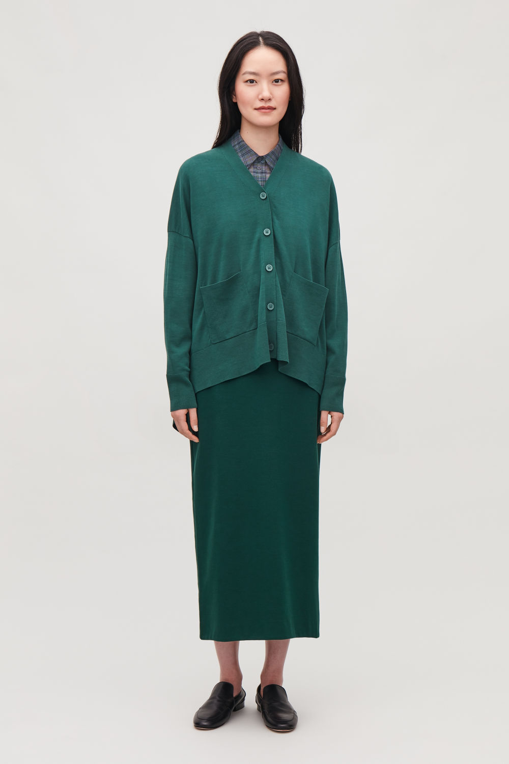 COS DRAPED-BACK CARDIGAN,Forest green