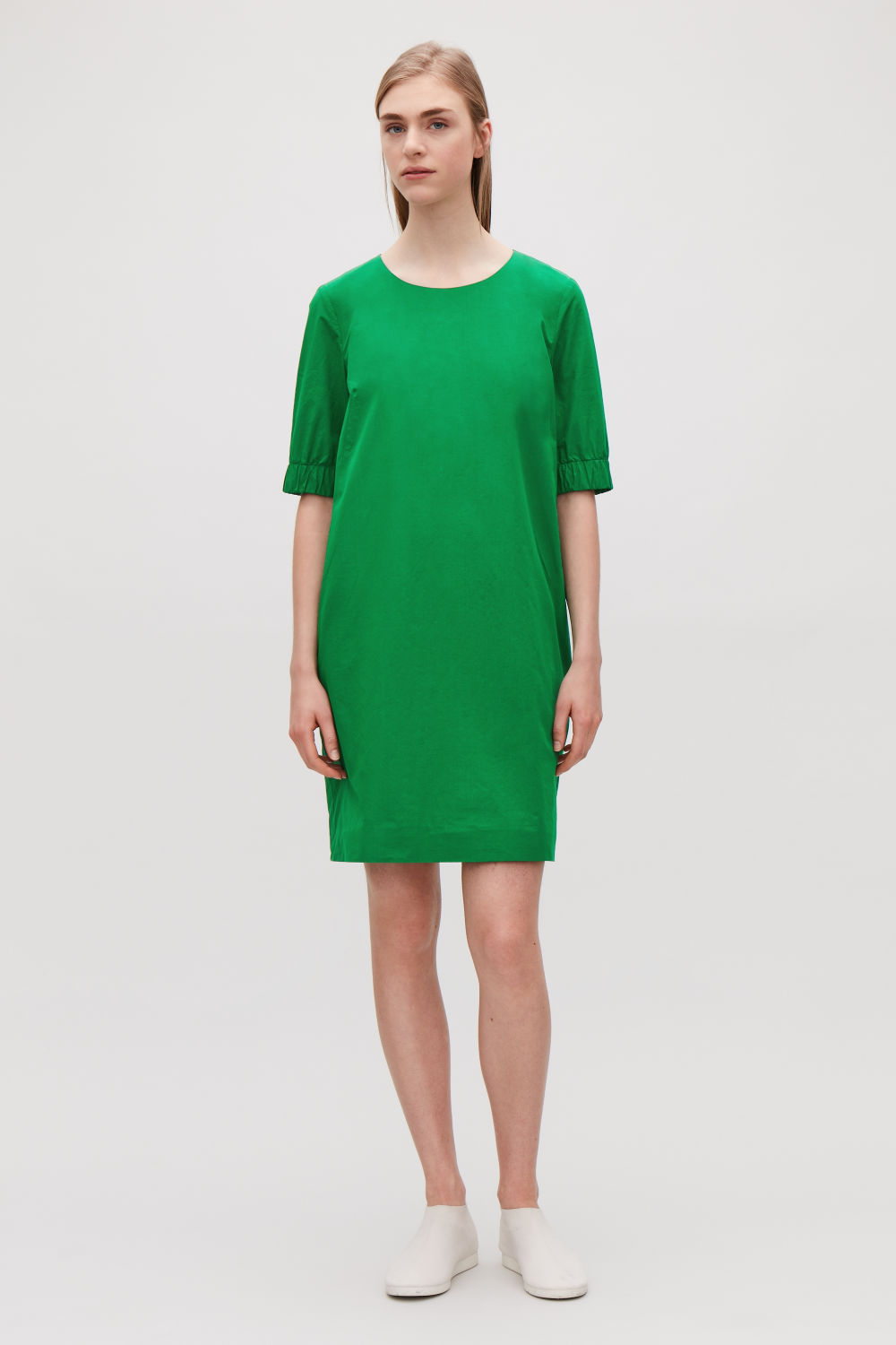 COS DRESS WITH ELASTICATED SLEEVES,Amazon green