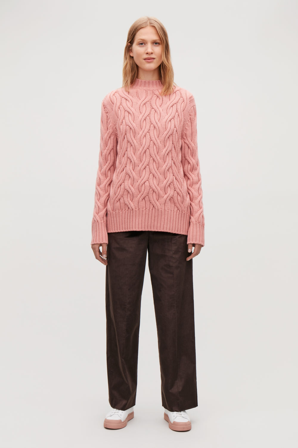 코스 COS CABLE-KNIT WOOL JUMPER,Rose pink