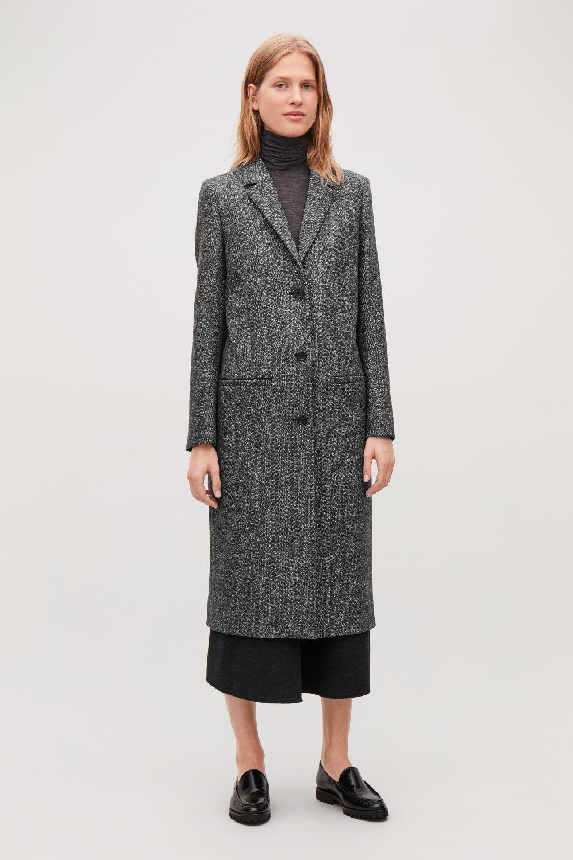 코스 COS LONG HERRINGBONE WOOL COAT,Dark grey \/ white