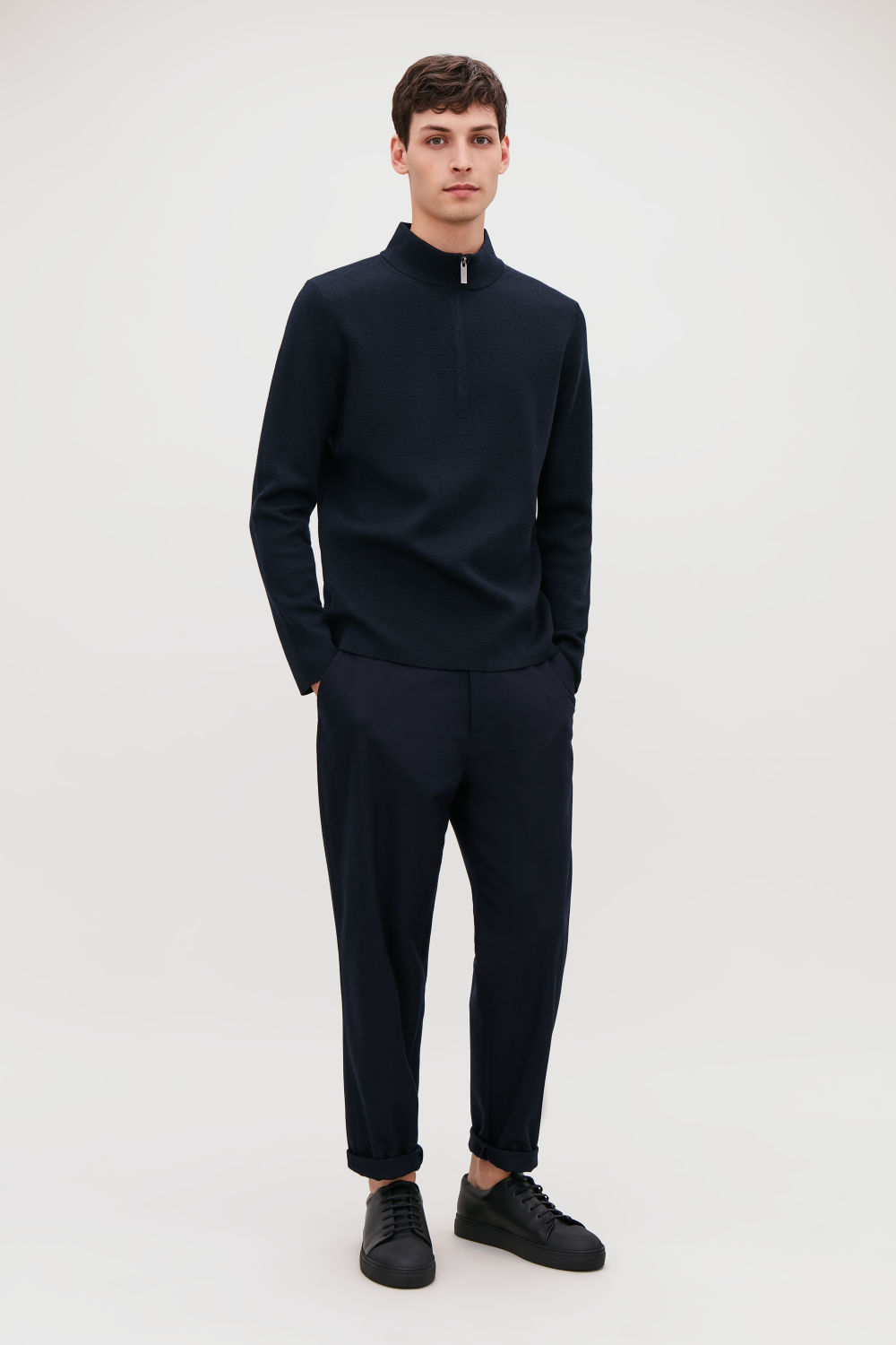 코스 COS HIGH-NECK WOOL JUMPER WITH ZIP,Midnight blue