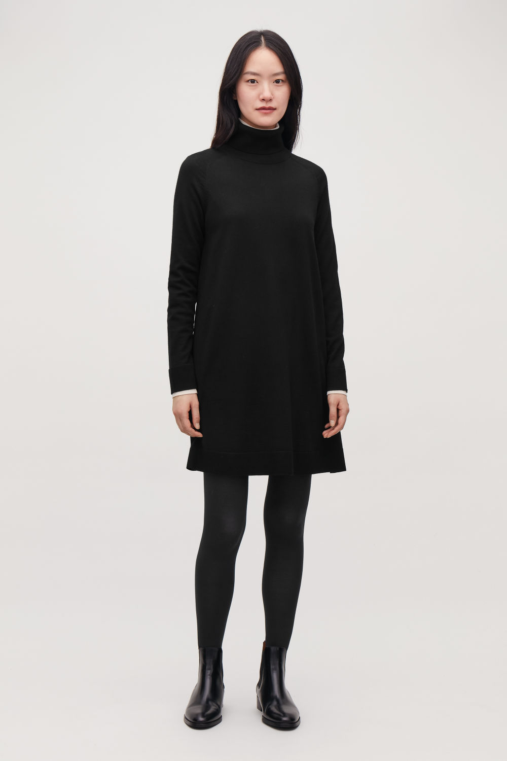 코스 COS A-LINE WOOL ROLL-NECK DRESS,Black
