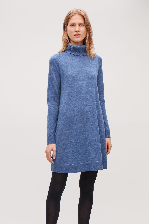 코스 COS A-LINE WOOL ROLL-NECK DRESS,Sky blue