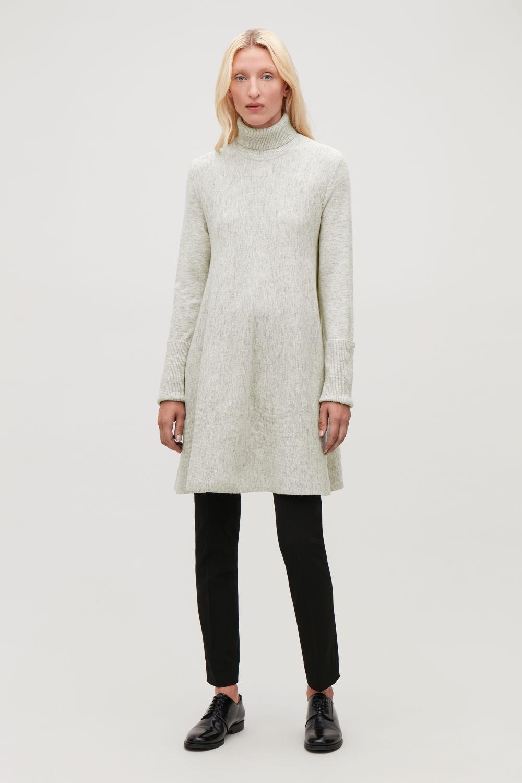 코스 COS LAMBSWOOL KNIT A-LINE DRESS,Light grey melange