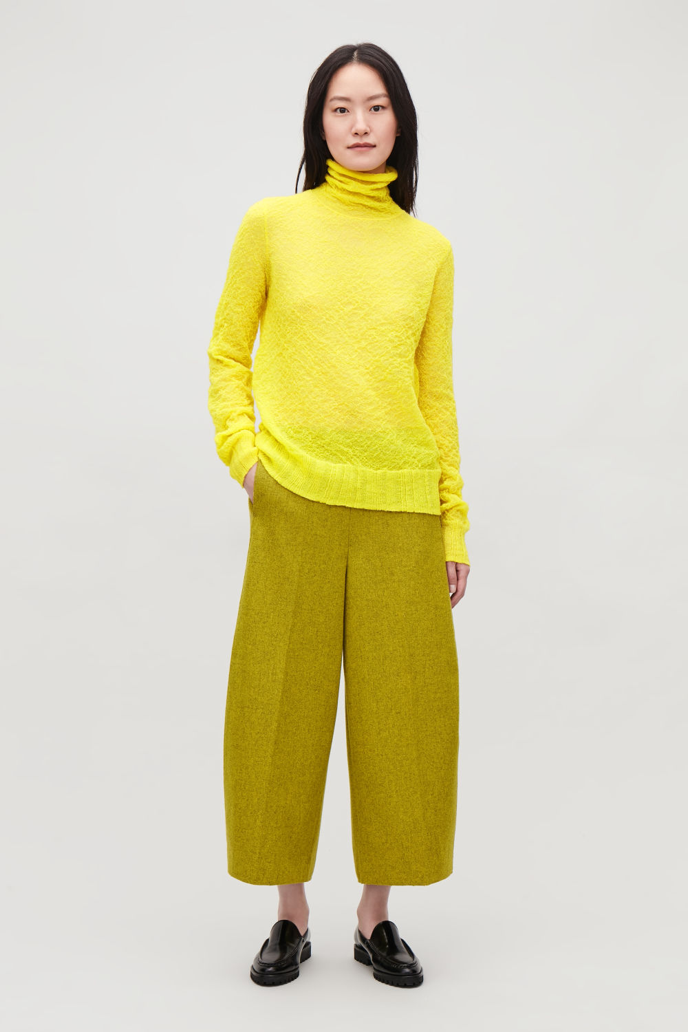 코스 COS CRINKLED RIB-KNIT TOP,Acid yellow