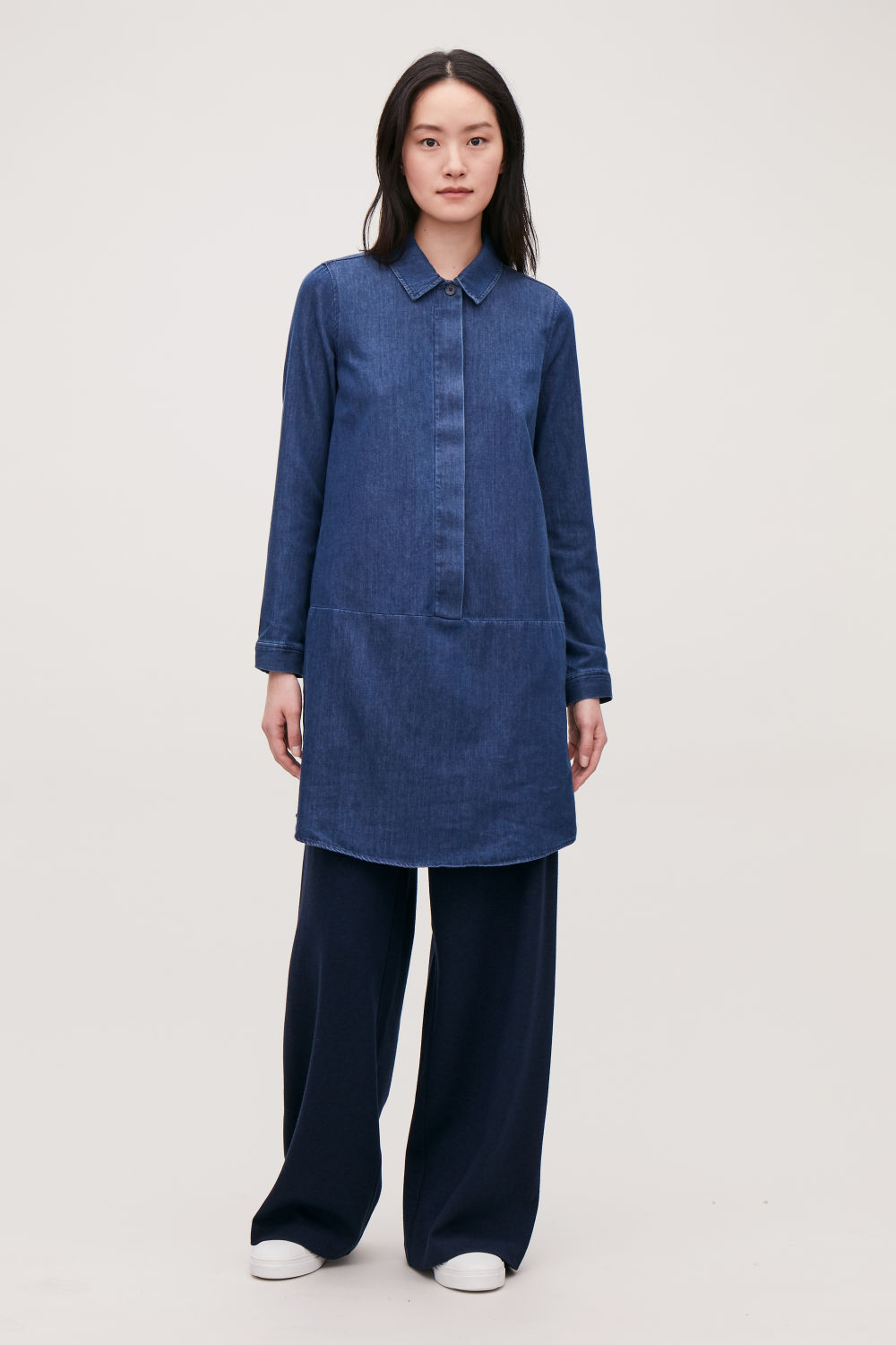 코스 COS A-LINE DENIM SHIRT DRESS,Dark blue