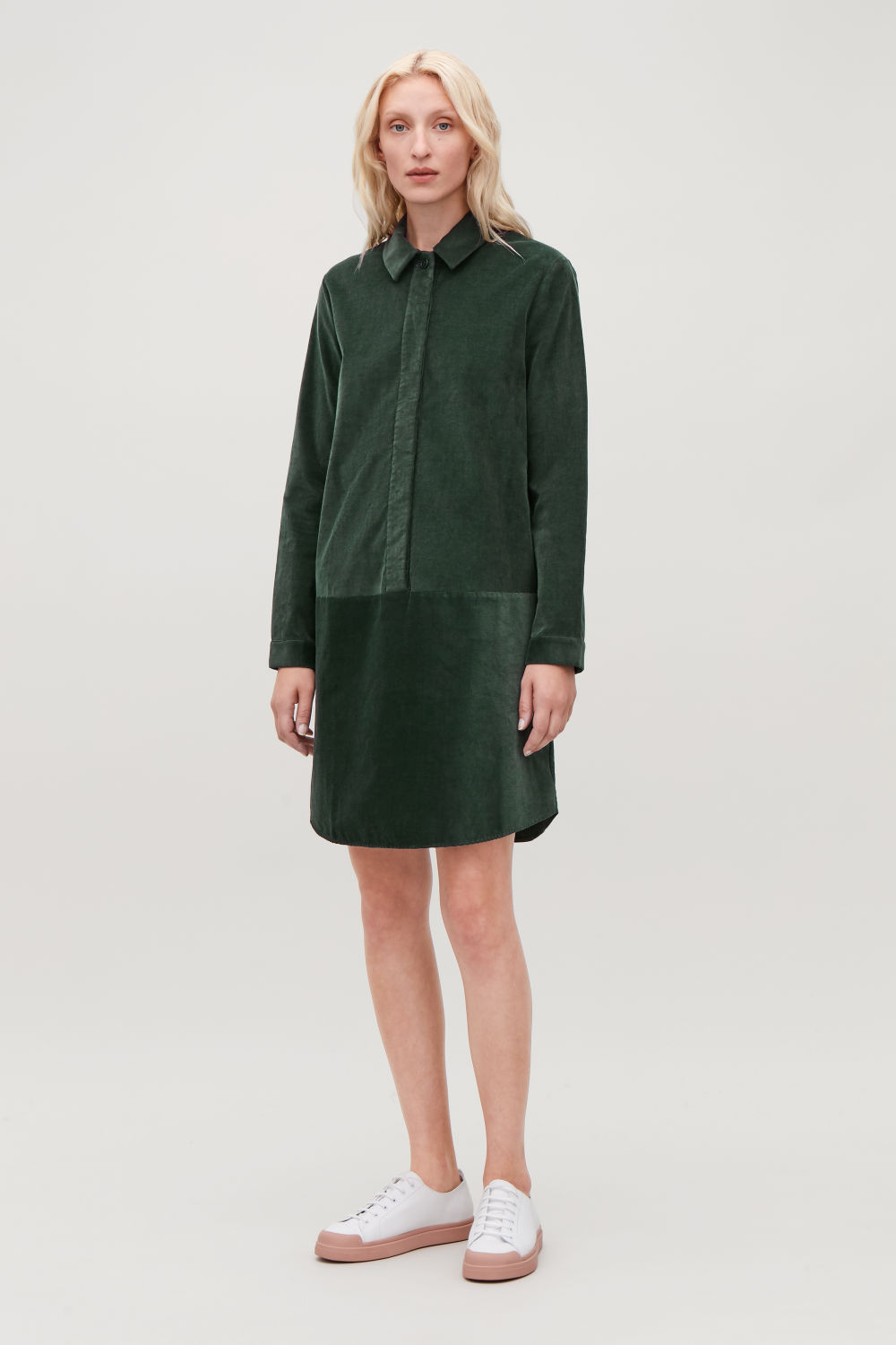 코스 COS A-LINE CORDUROY SHIRT DRESS,Dark green