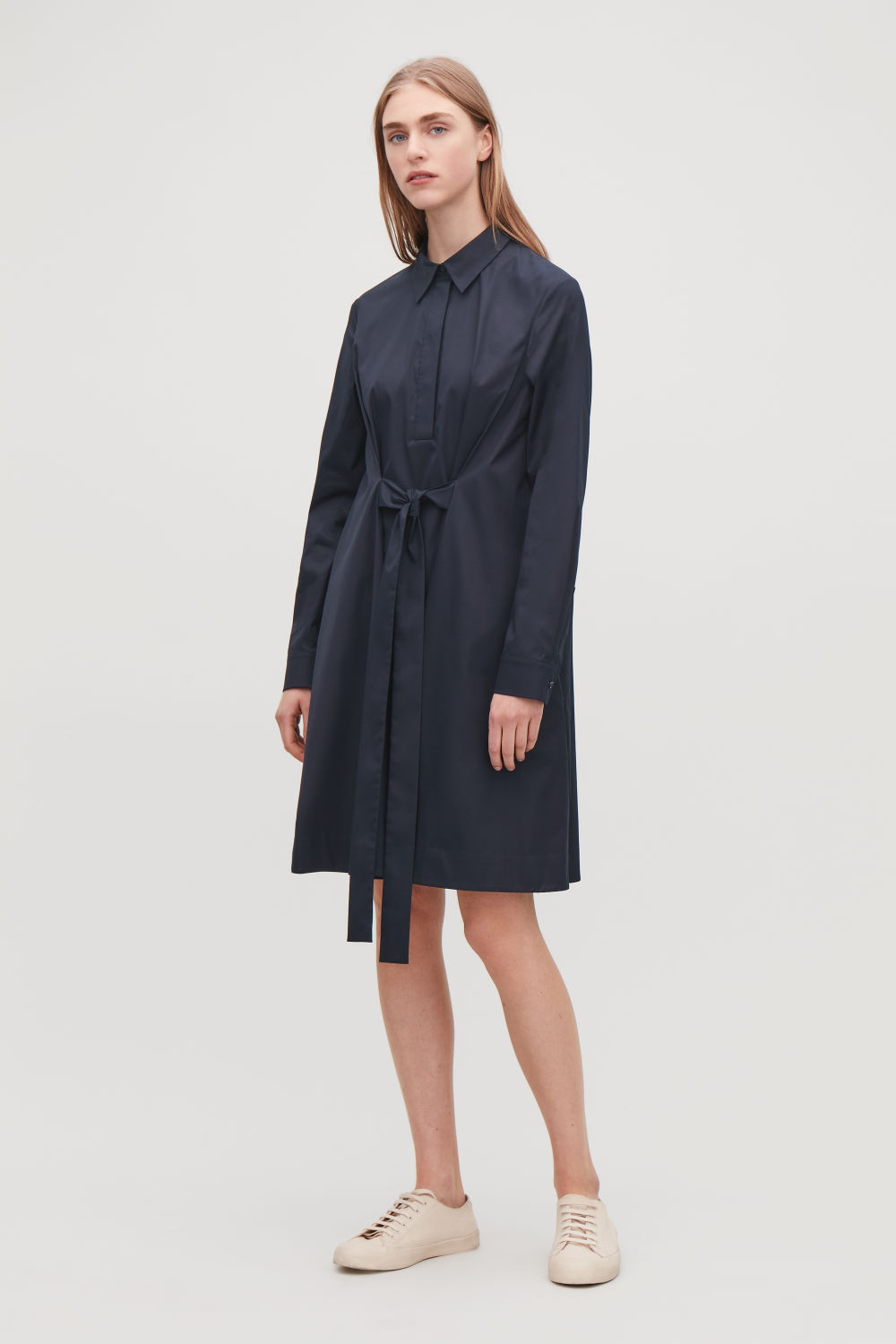 코스 COS SHIRT DRESS WITH FRONT TIE,Midnight blue