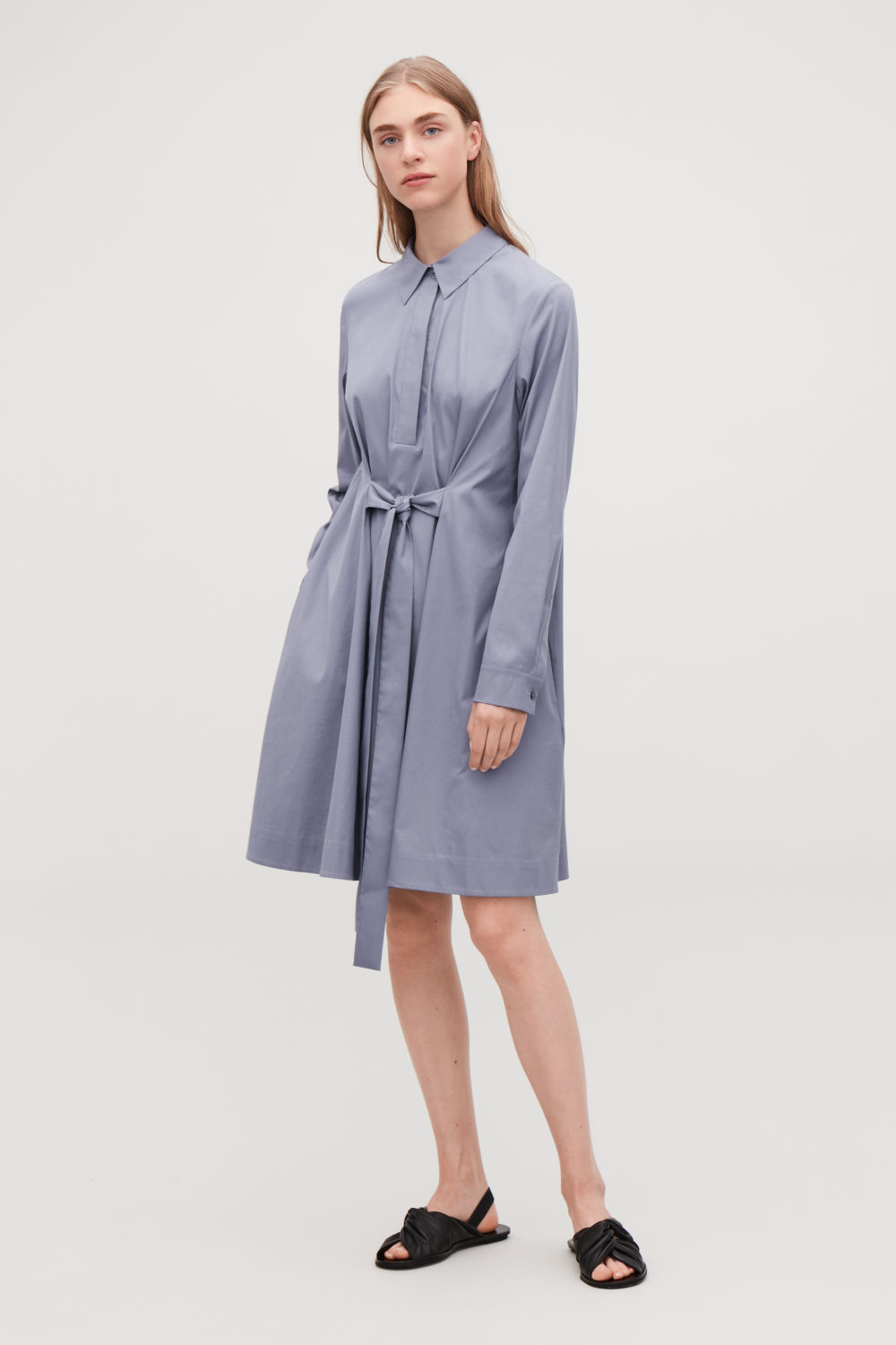 코스 COS SHIRT DRESS WITH FRONT TIE,Smoked violet