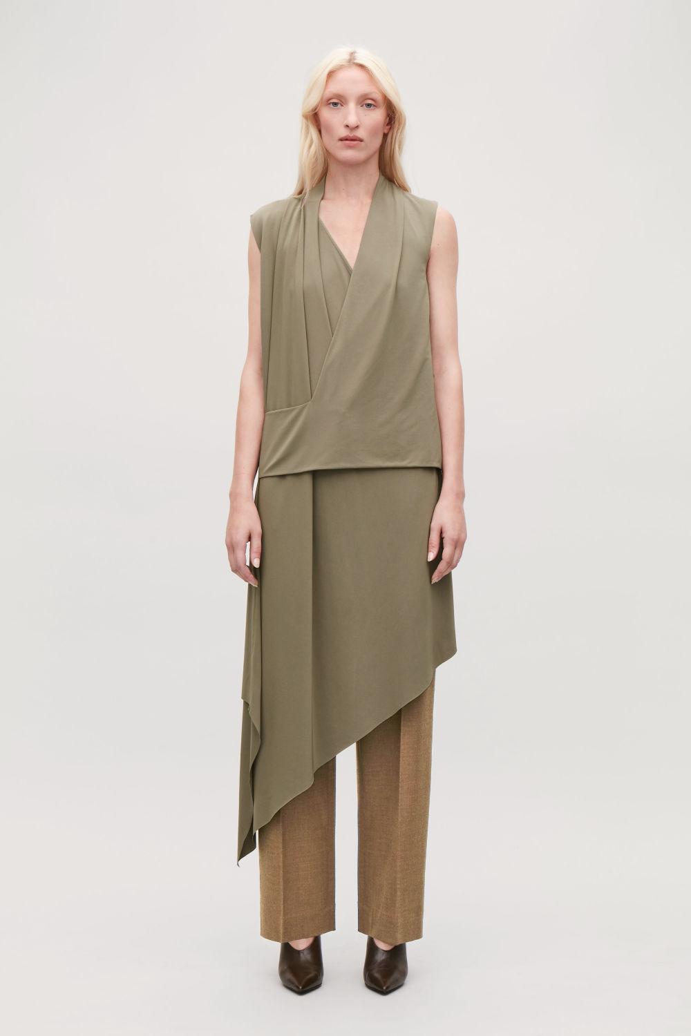 코스 랩 원피스 COS DRAPED WRAP JERSEY DRESS,Dark taupe