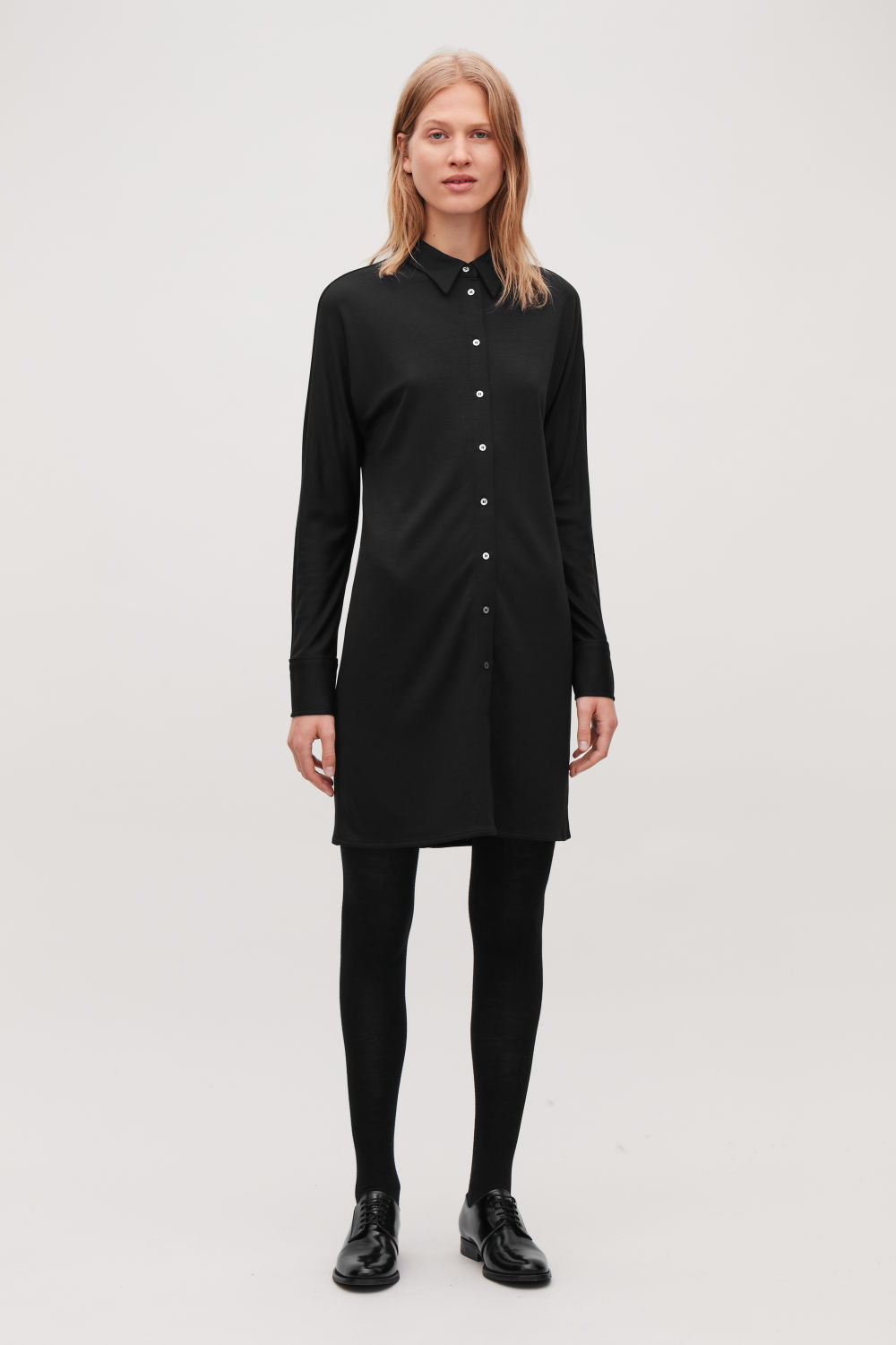 코스 COS WIDE-SLEEVE JERSEY SHIRT DRESS,Black