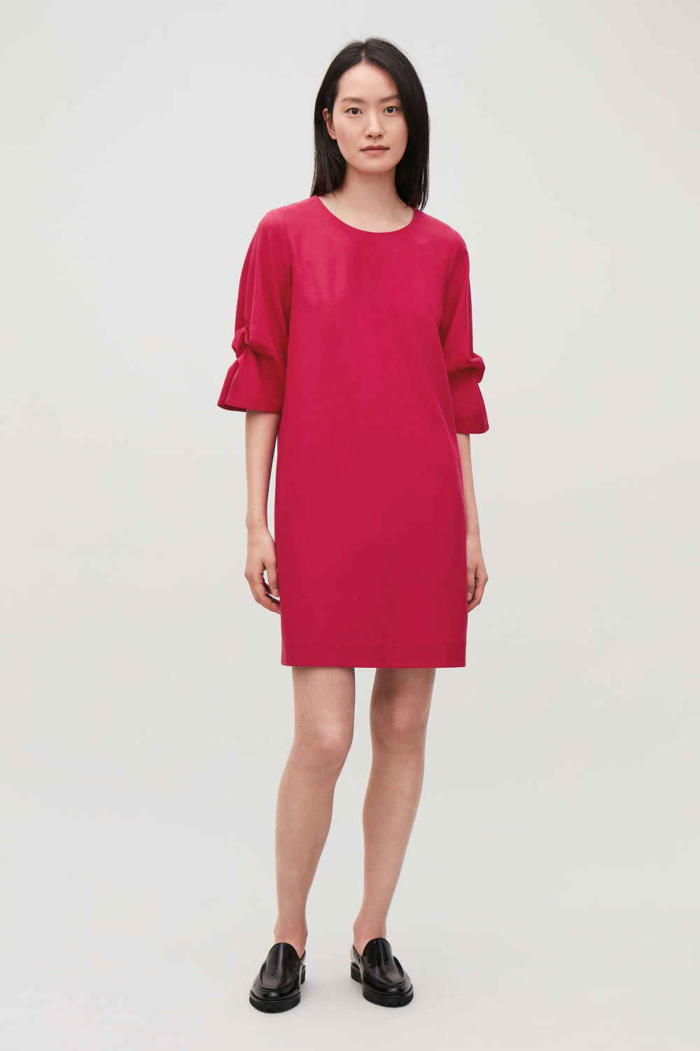 COS DRAPE-SLEEVED WOOL DRESS,Vibrant pink