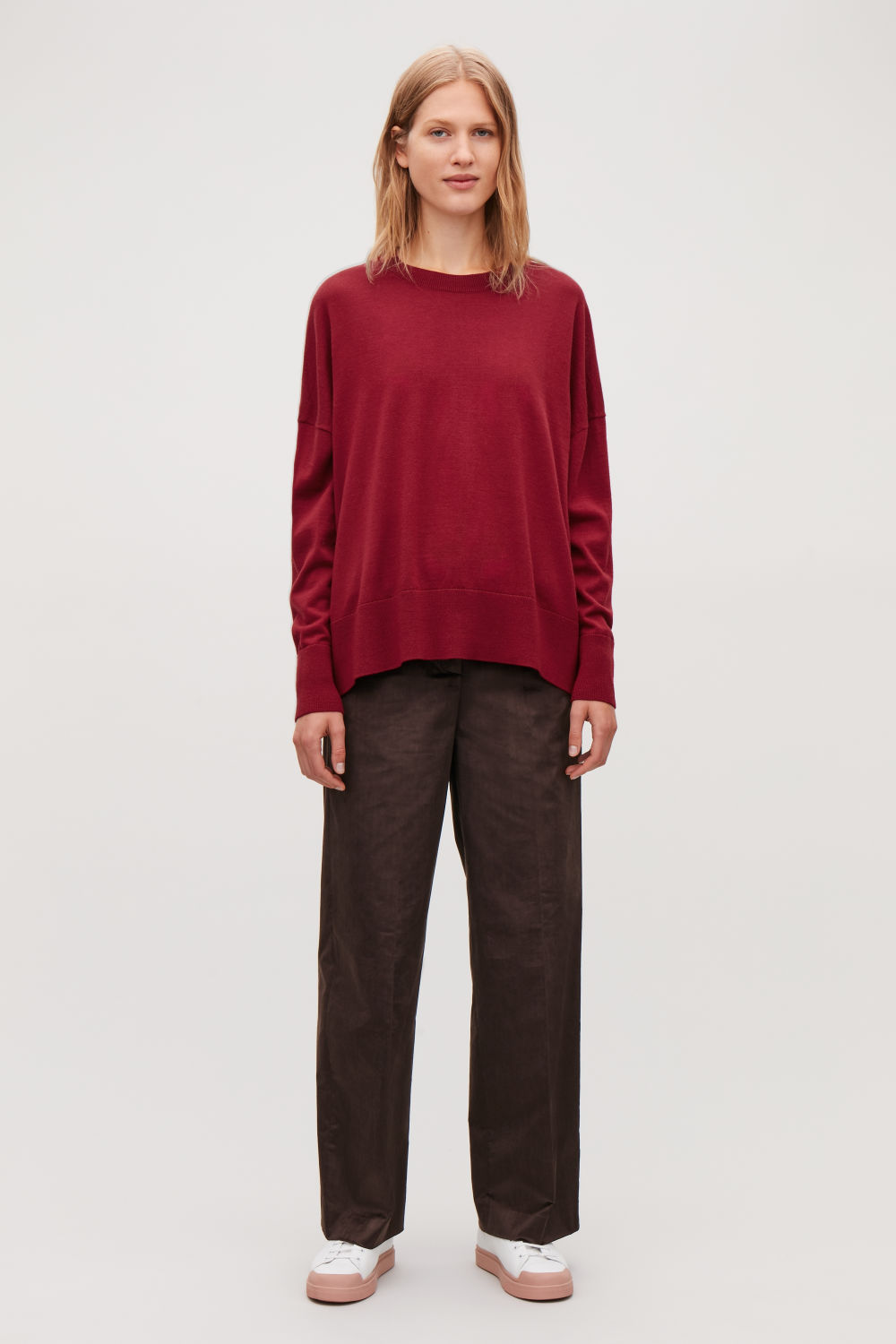 코스 COS DRAPED FINE-KNIT WOOL JUMPER,Crimson