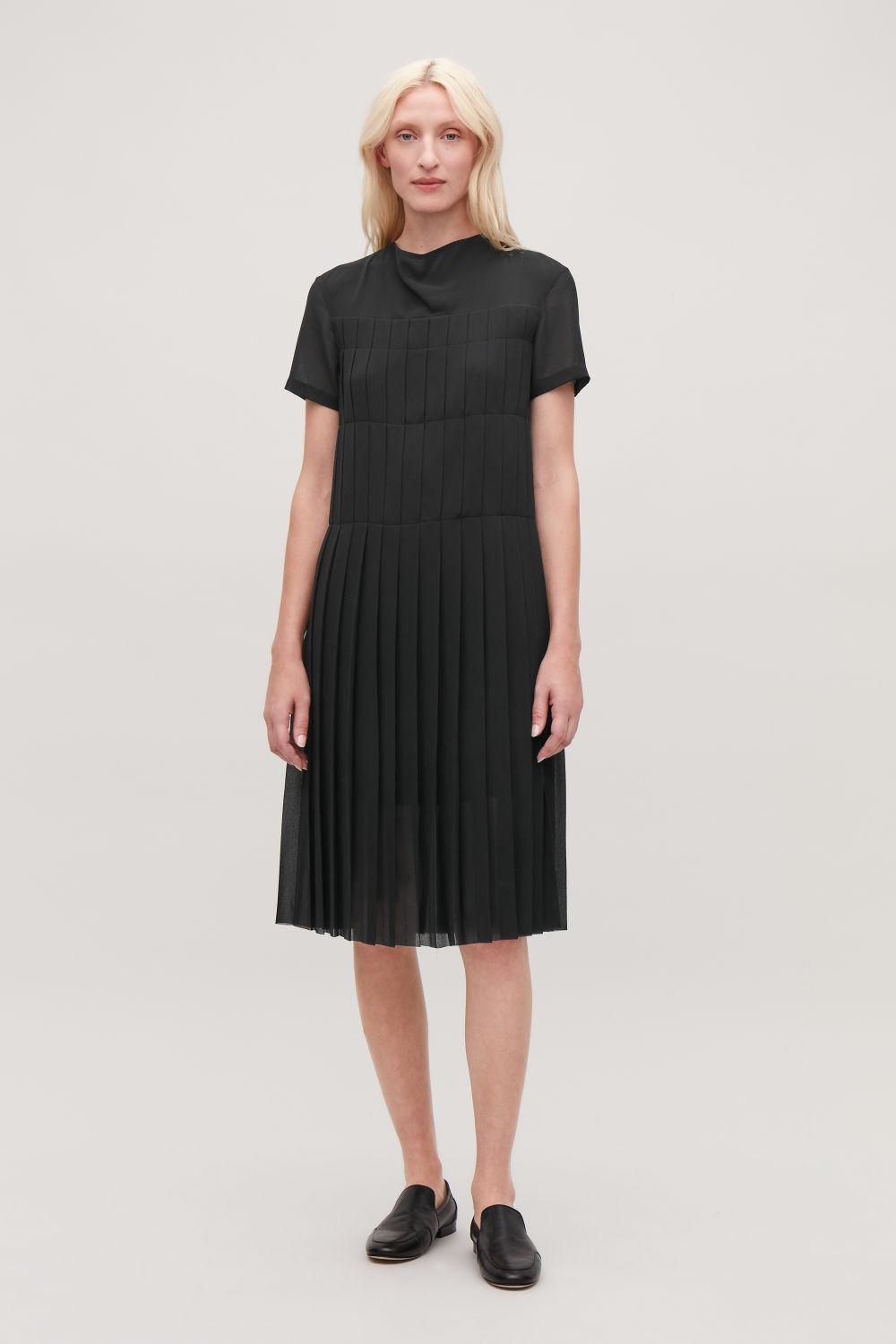COS DRAPED-NECK PLEATED DRESS,Black