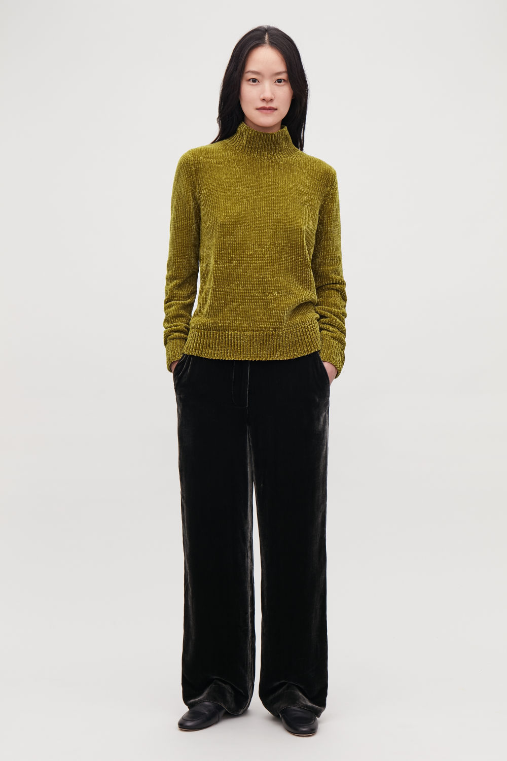 코스 COS CHENILLE JUMPER WITH ZIP,Dark mustard