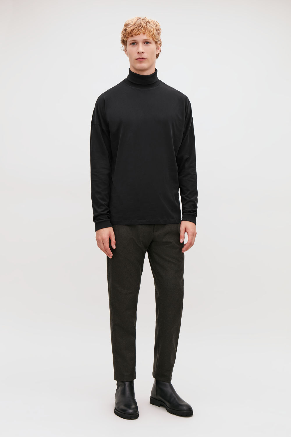 코스 COS COTTON ROLL-NECK JUMPER,Black