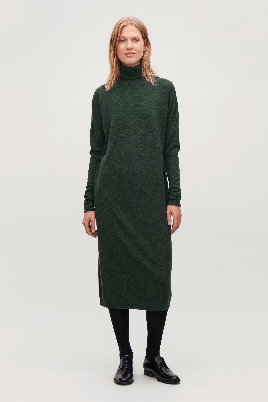코스 COS ROLL-NECK WOOL DRESS,Dark forest green melange
