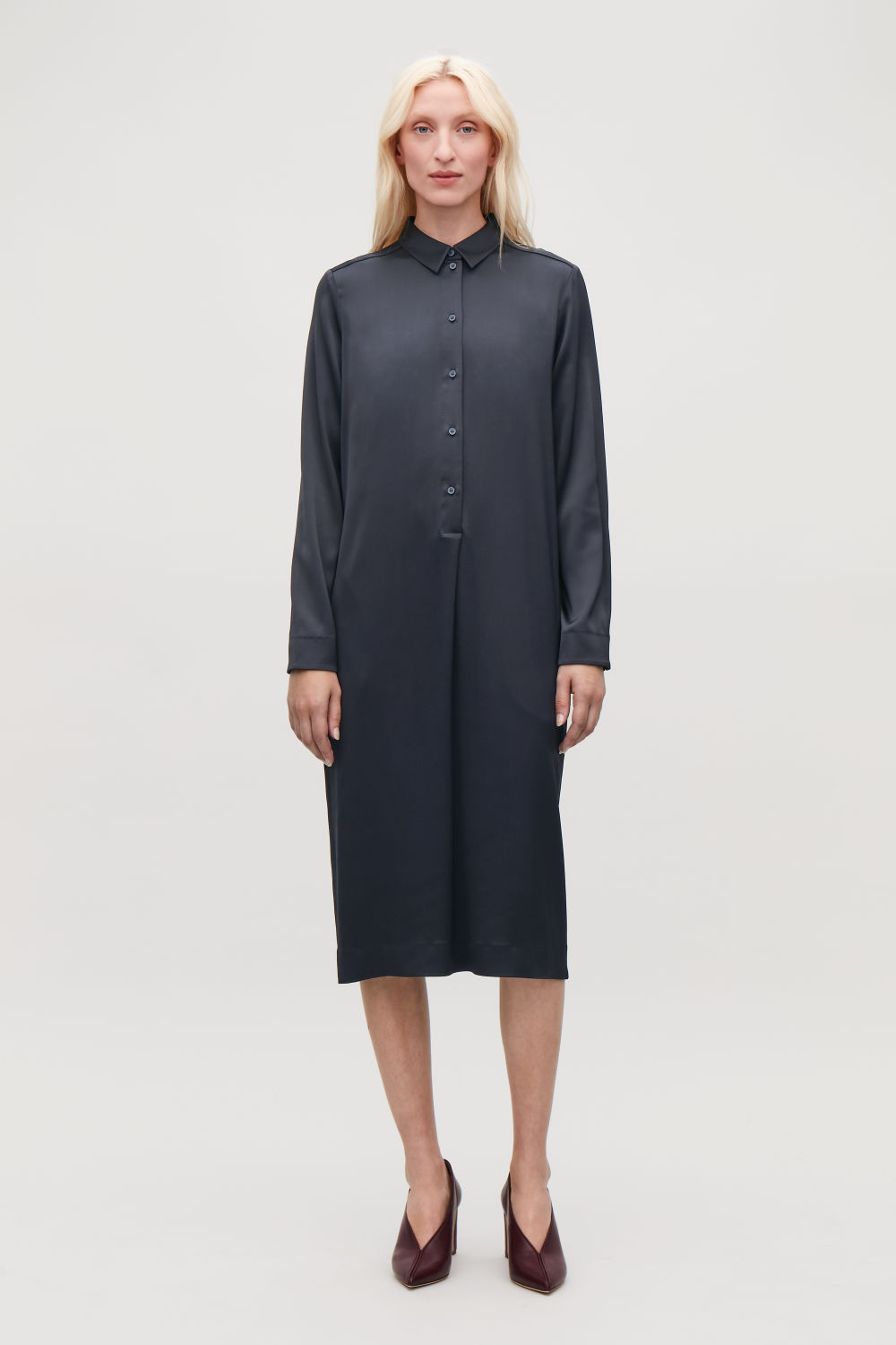 코스 셔츠 원피스 COS MID-LENGTH SHIRT DRESS,Midnight blue