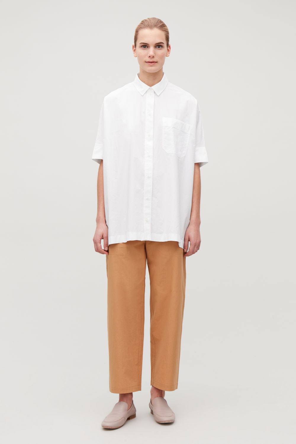 코스 COS BOXY SHORT-SLEEVED SHIRT,White