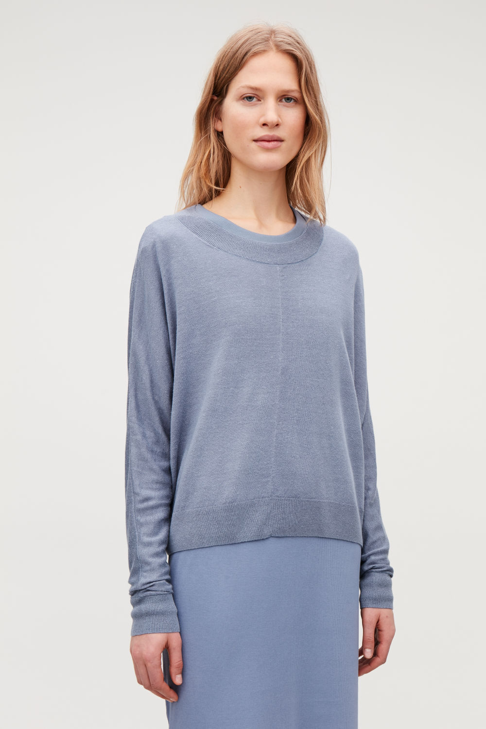 COS RELAXED LINEN-BLEND KNIT TOP,Stonewash blue
