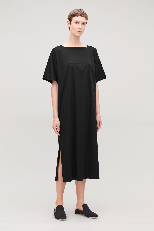 코스 원피스 COS SIDE-SPLIT JERSEY APRON DRESS,Black
