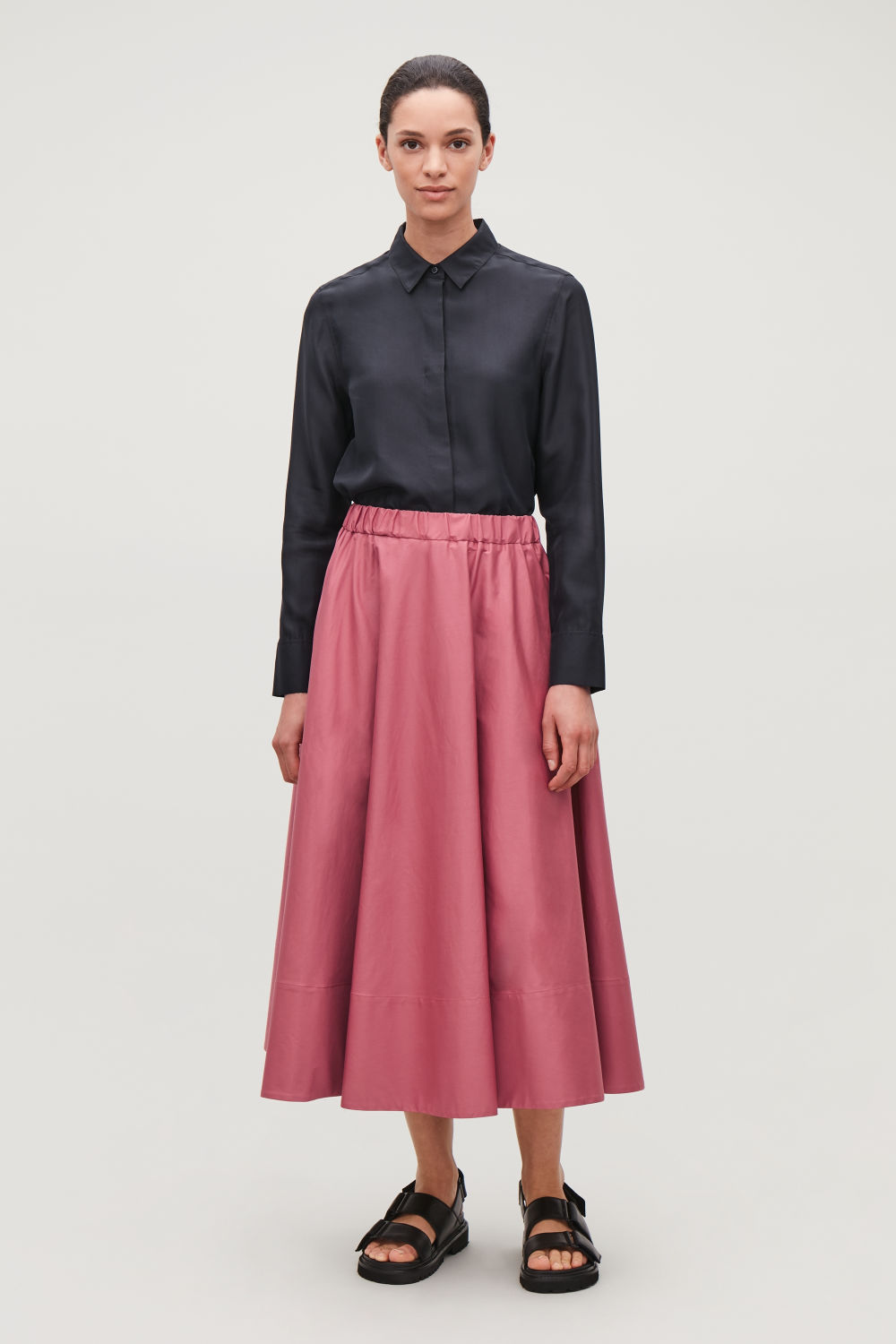 코스 COS LONG CIRCLE-CUT SKIRT,Dark pink