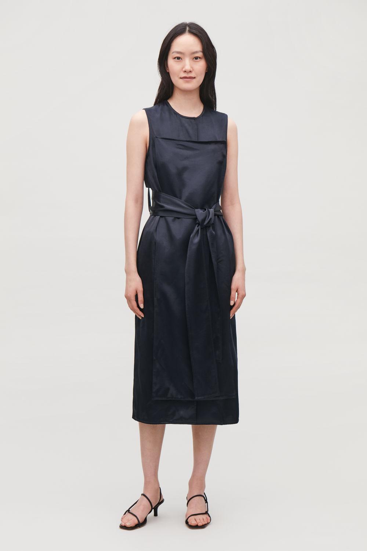 코스 롬퍼 COS TRENCH-DETAIL SMOOTH SLEEVELESS DRESS,Deep navy